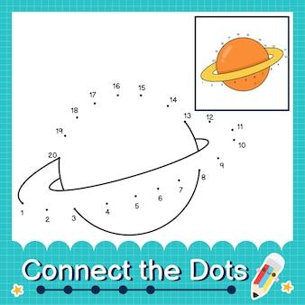 Verbind de stippen tellende getallen 1 tot 20 puzzelwerkblad met saturnus