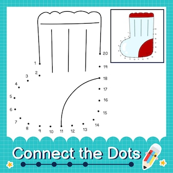 Verbind de stippen tellende getallen 1 tot 20 puzzelwerkblad met sock