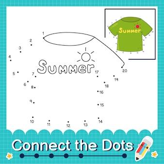 Verbind de stippen tellende getallen 1 tot 20 puzzelwerkblad met t-shirt