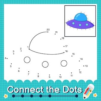 Verbind de stippen tellende getallen 1 tot 20 puzzelwerkblad met ufo
