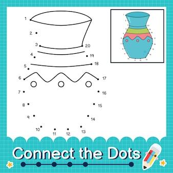 Verbind de stippen tellende getallen 1 tot 20 puzzelwerkblad met vase