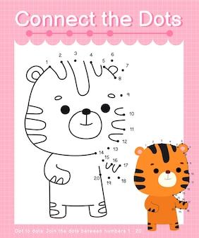 Verbind de stippen tijgerstip met stippelspellen voor kinderen die nummer 1 tot 20 tellen