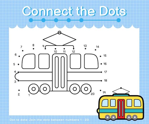 Verbind de stippen tram - stip om spelletjes voor kinderen te tellen