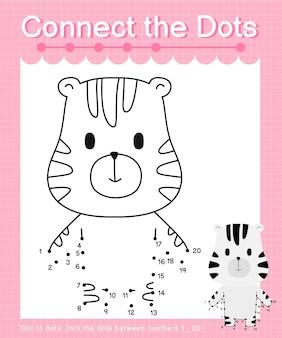 Verbind de stippen zebra-stip met stip-spellen voor kinderen die nummer 1 tot en met 20 tellen