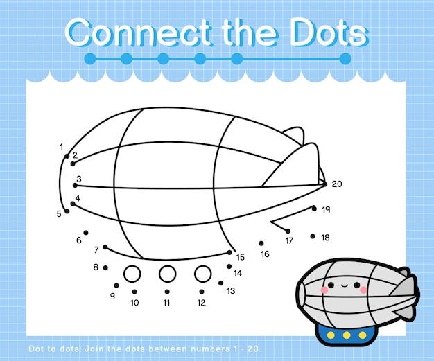 Verbind de stippen zeppelin - punt om spelletjes voor kinderen te tellen