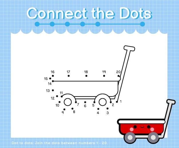 Verbind de stippenwagen - stip om spelletjes voor kinderen te tellen