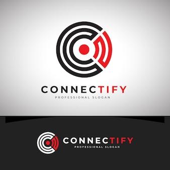 Verbind het c letter-logo