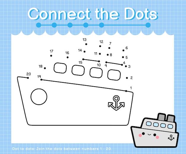 Verbind het puntenschip - punt-naar-punt-spellen voor kinderen die het aantal tellen