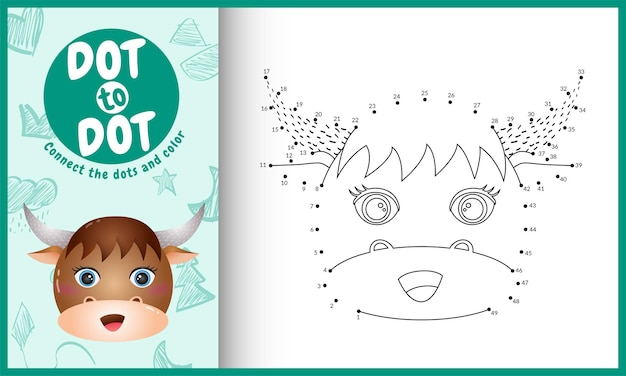 Verbind het stippen-kinderspel en de kleurpagina met een schattige illustratie van een buffelkarakter