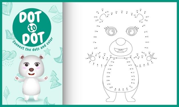Verbind het stippen-kinderspel en de kleurpagina met een schattige illustratie van het ijsbeerkarakter