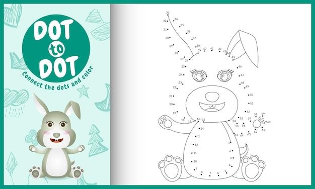 Verbind het stippen-kinderspel en de kleurpagina met een schattige illustratie van het konijnkarakter