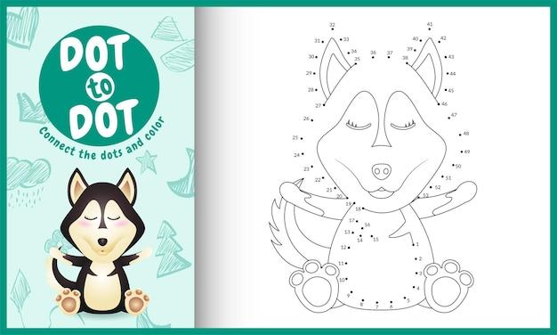 Verbind het stippen-kinderspel en kleurpagina met een schattig huskyhondpersonage