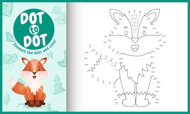 Verbind het stippen-kinderspel en kleurpagina met een schattig vos-personage