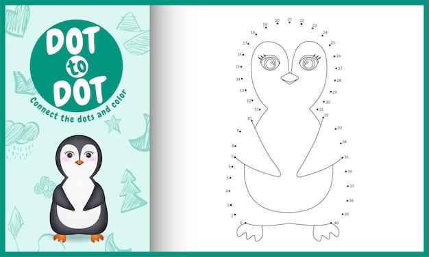 Verbind het stippen-kinderspel en kleurpagina met een schattige illustratie van het pinguïnkarakter