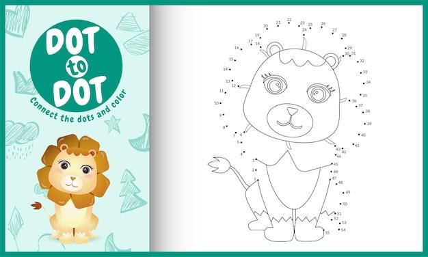 Verbind het stippen-kinderspel en kleurplaat met een schattig leeuwkarakter