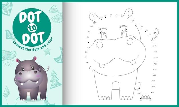 Verbind het stippen-kinderspel en kleurplaat met een schattig nijlpaardkarakter