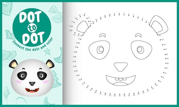 Verbind het stippen-kinderspel en kleurplaat met een schattige gezichtspanda