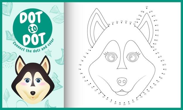 Verbind het stippen-kinderspel en kleurplaat met een schattige husky-hond