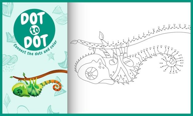 Verbind het stippen-kinderspel en kleurplaat met een schattige kameleon