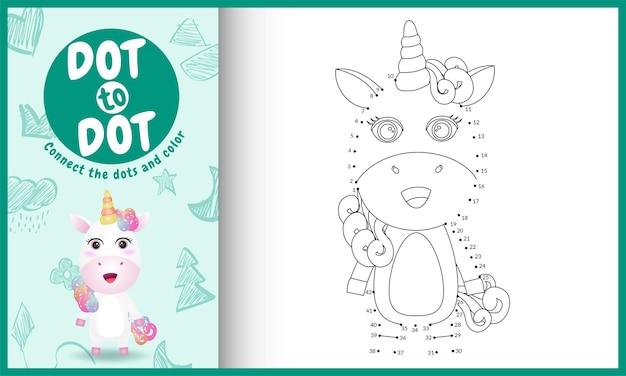 Verbind het stippen-kinderspel met een schattige eenhoorn-karakterillustratie