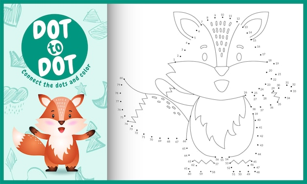 Verbind het stippen-kinderspel met een schattige illustratie van een vos