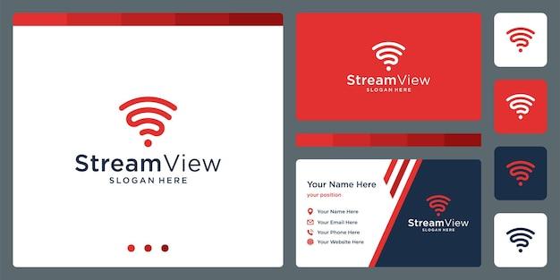 Verbind signaal met lijn en initialen letter s. ontwerpsjabloon voor visitekaartjes.