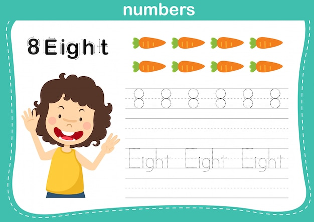 Verbindende punt- en afdrukbare getallenoefening voor illustratie van voorschoolse en kleuterschoolkinderen, Premium Vector