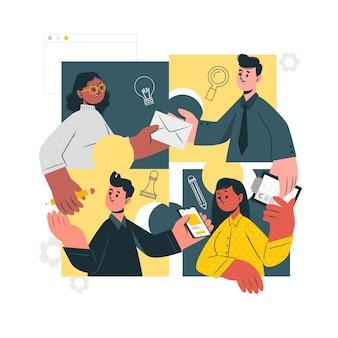 Verbindende teams concept illustratie