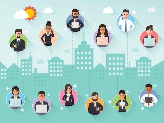 Verbindende zakenman en onderneemster via sociaal netwerk.
