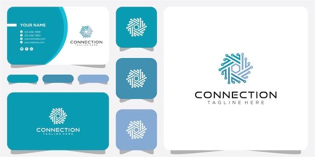Verbindingen logo ontwerp. community-logo-ontwerp, technologie-logo-ontwerp met visitekaartje