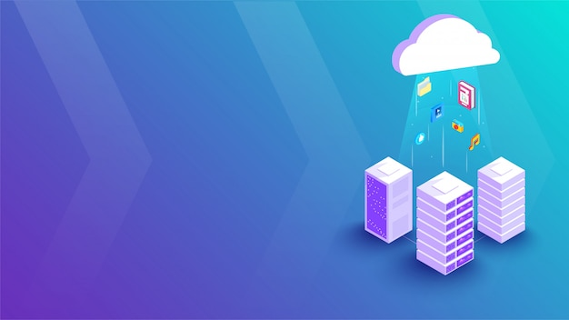 Verbindingsbanner 3d cloud-server
