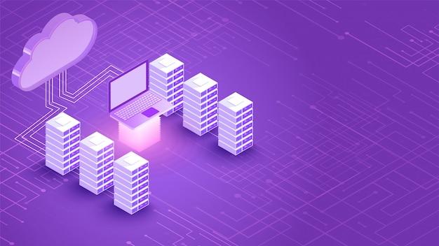 Verbindingsbanner 3d cloud-server