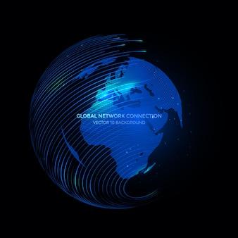 Verbindingslijnen rond earth globe-achtergrond, communicatietechnologie voor internetzaken.