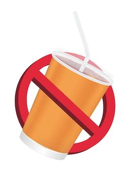 Verbod geen drinkteken op een witte achtergrond