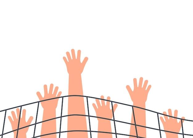 Verbod op handen met netten, beperking van vrijheid concept