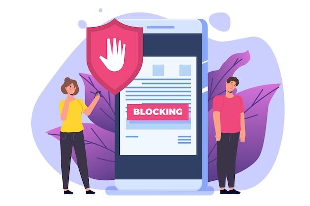 Verboden internetinhoud, internetblokkeringsconcept. software voor het blokkeren van advertenties. vector illustratie