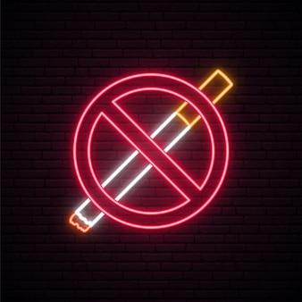 Verboden niet roken neonreclame.