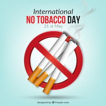 Verboden symbool achtergrond met sigaretten