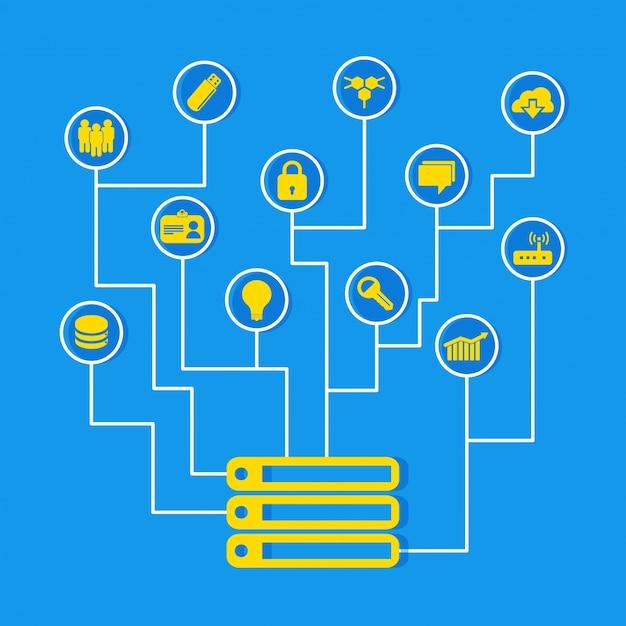 Verbonden voorzien van een netwerktechnologie op achtergrond.