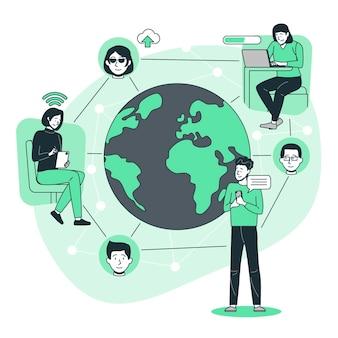 Verbonden wereld concept illustratie