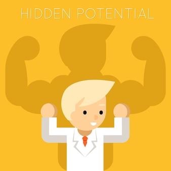 Verborgen potentieel concept. zakenman met sterke man schaduw. manager en leiderschap, kracht en succes, winnaar professioneel succesvol.