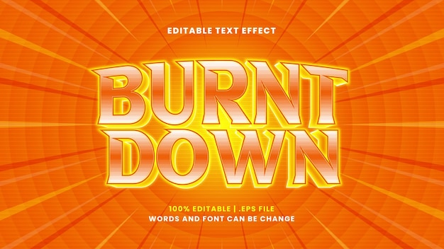 Verbrand bewerkbaar teksteffect in moderne 3d-stijl