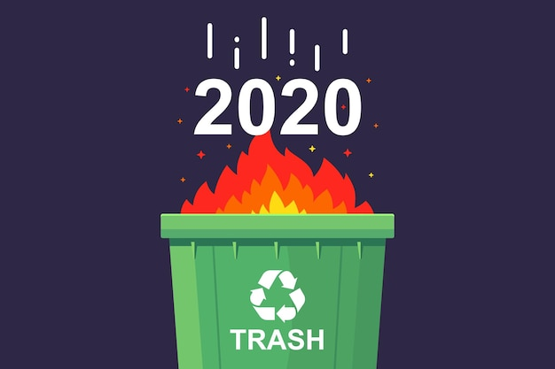 Verbrand in de prullenbak 2020. plat