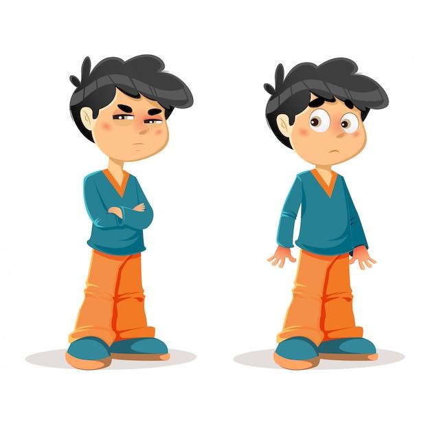Verdachte verbaasde young boy-expressies