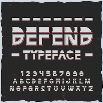 Verdedig het alfabet met lijnen en retrofuturistische lettertype-elementen met geïsoleerde cijfers en letters
