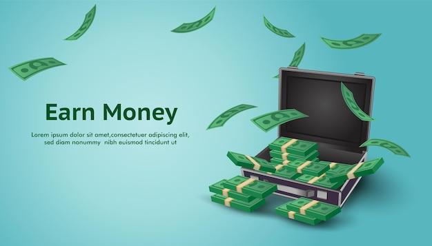 Verdien geld achtergrond verhoog de financiële investering