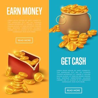 Verdien geld en ontvang cash banner web set