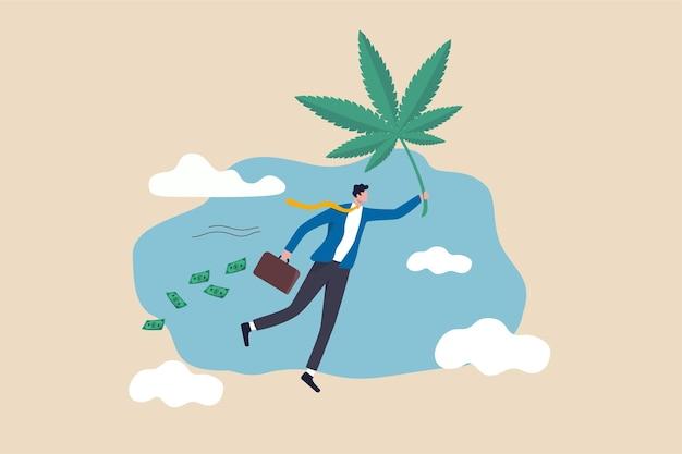 Verdien geld en rijk aan marihuana concept illustratie