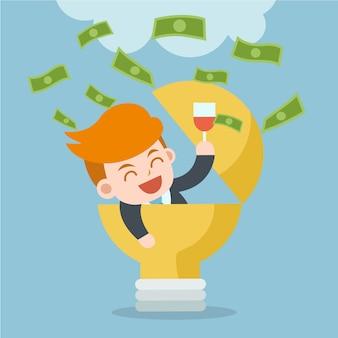 Verdien geld met idee. de gelukkige zakenman viert succes.