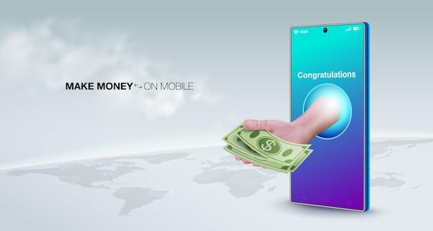 Verdien geld online met een smart phone bedrijfsconcept. verkoop online, maak geld over, betaal, stort, werk overal ter wereld.